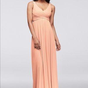 Long David's Bridal bridesmaid dress! In Bellini
